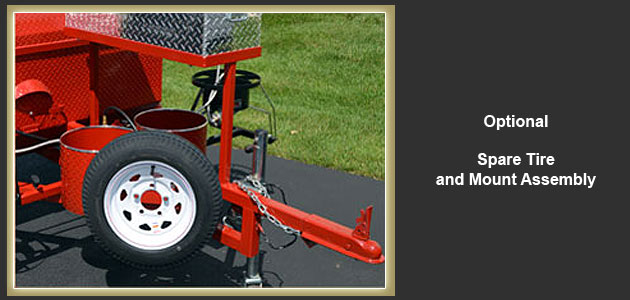 We can add an optional spare tire and mount on our grills.