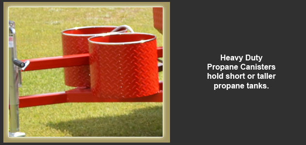 Heavy duty propane canisters on all our grills.