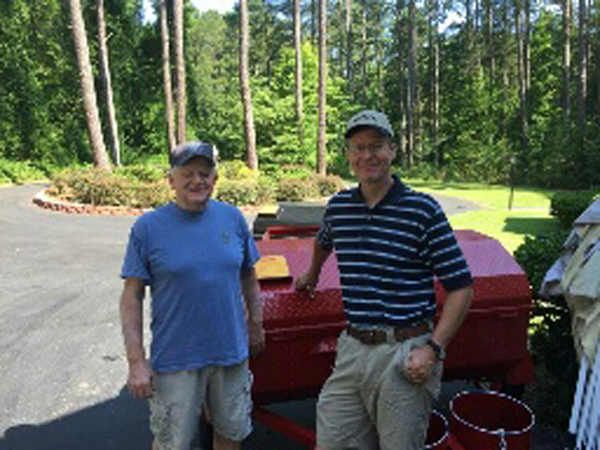 Tom, of Asheboro, North Carolina, new owner of a Carolina Pig Cookers grill.